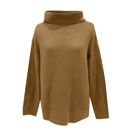 Women Loose Fashion Sweater High Neck (4369645961356)