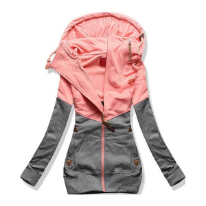 Women Zipper Patchwork Hooded Sweatshirt (4369734762636)