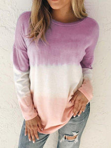 Plus size Ombre/tie-Dye Cotton Casual Shirts & Tops