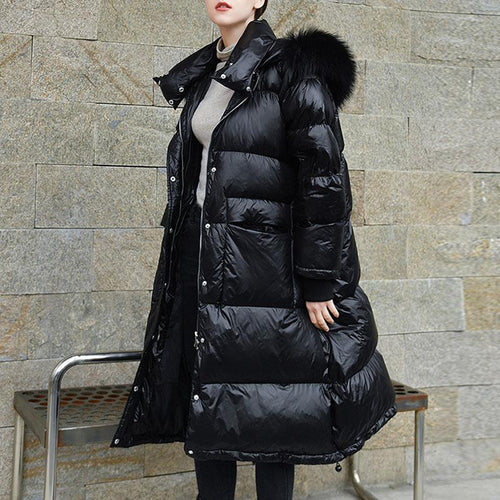 Women Winter Hooded Long Duck Down Coat (4369999495308)