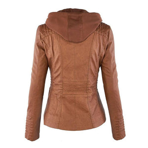 Women Casual Coats Plus Size PU Jackets(S-5XL) (4369622433932)