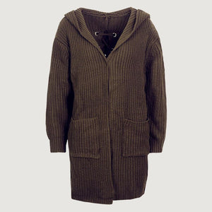 Back Bandage Casual Pocket Hooded Cardigan (4369636720780)