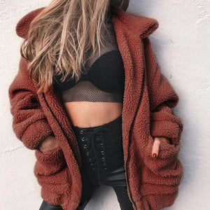 Faux Fur Plush Loose Coat (4369628201100)