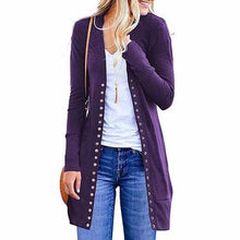 Load image into Gallery viewer, Solid Color Button Loose Long Cardigan (4369641046156)
