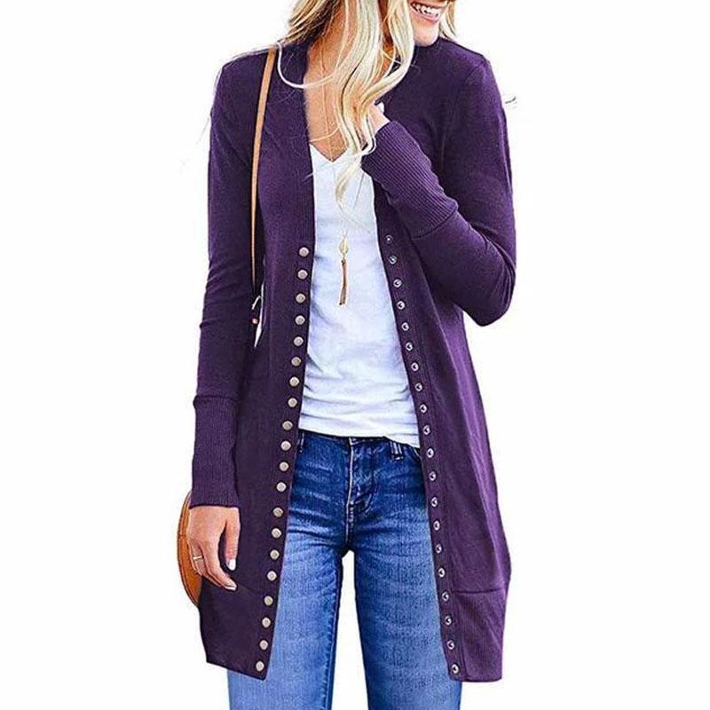 Solid Color Button Loose Long Cardigan (4369641046156)