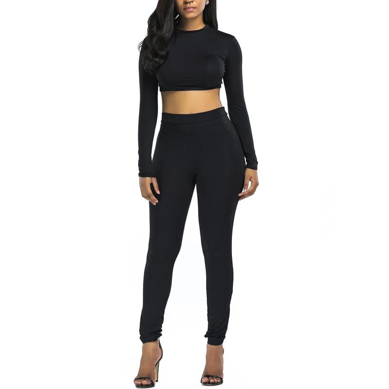 Women Sweatsuit Set Round Neck Pullover & Skinny Pants (4369750884492)