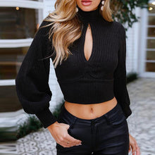 Load image into Gallery viewer, Exposed Navel Cross Backless Sweater Turtleneck (4369717264524)