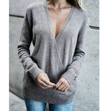Load image into Gallery viewer, Long Sleeved V-neck Sweater Loose (4369712545932)