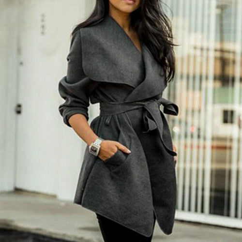 Fashion Elegant Fold Over Collar Belt Plain Coat