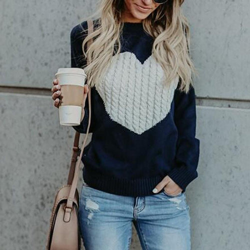 Fashion Autumn Women Knitted Sweater Round Neck (4369645404300)