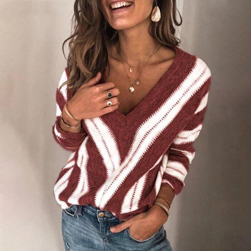 Fashion V Neck Stripe Knitted Pullover (4369648156812)