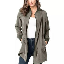 Load image into Gallery viewer, Women Waist Drawstring Zipped Coat Slim Fit (4370040225932)