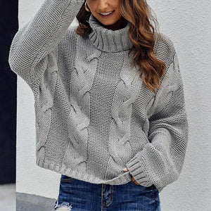 Ladies Casual Loose Plain High Neck Sweater (4369647403148)