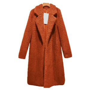 Plain Lapel Long Coat Loose Outerwear (4370039472268)