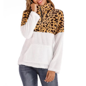Women Leopard Zipper Pullover Sweatshirt (4369738662028)