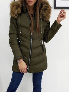 Slim Thick Zipper Mid-Length Cotton Padded Jacket (4365971619980)