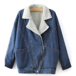 Blue Casual Shawl Collar Denim Outerwear (4370021974156)