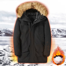 Load image into Gallery viewer, Outdoor thickening down cotton men's long winter cold hooded outdoor cotton coat (4367163129996)