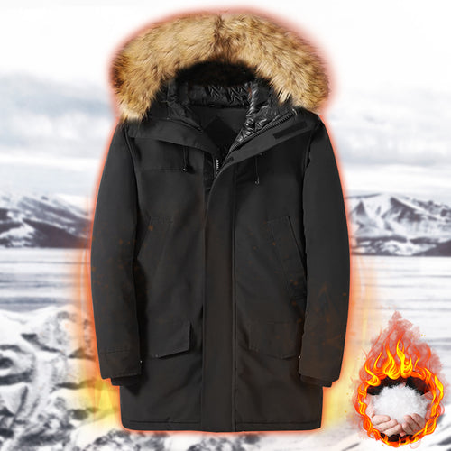 Outdoor thickening down cotton men's long winter cold hooded outdoor cotton coat (4367163129996)