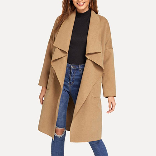 Women Waterfall Collar Belted Wrap Coat