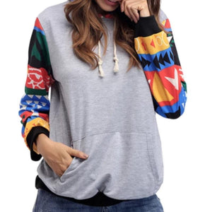 Women Drawstring Plaid Patchwork Hoodies (4369732698252)