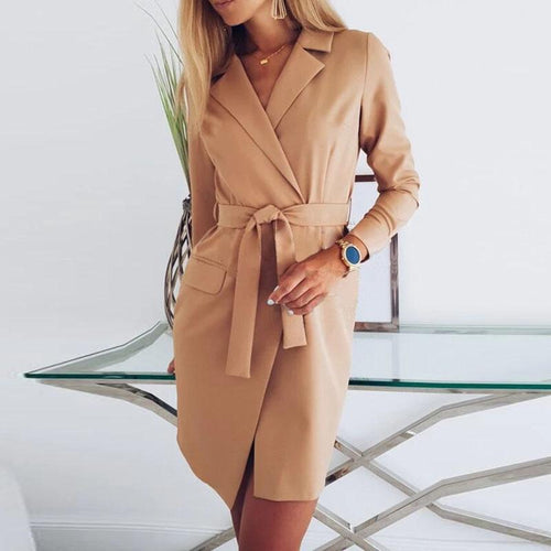Spring Solid Color Bandage Slim Blazer Coat