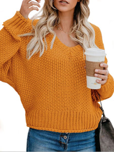 Women V Neck Loose Knitted Sweater (4369647206540)