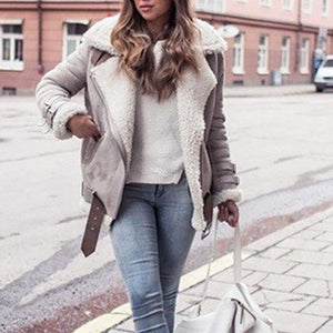 Thick Fluffy Winter Long Lapels Warm Coat Jacket (4369627971724)