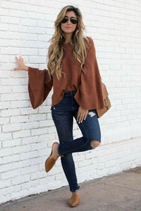 Brown Bell Sleeve Loose Knit Sweater