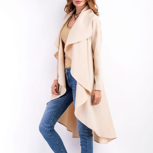Spring Solid Asymmetric Hem Trench Coat