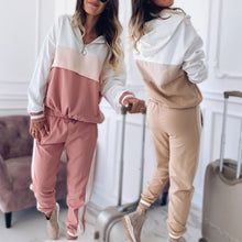 Load image into Gallery viewer, Women Patchwork Sport Suits Hooded Sweatshirts and Pants Set (4369749639308)