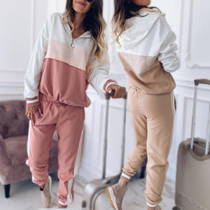 Women Patchwork Sport Suits Hooded Sweatshirts and Pants Set (4369749639308)