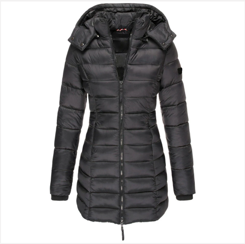 Women Winter Hooded Warm Coat Solid Color (4369201201292)