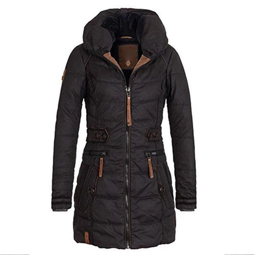 Women Solid Thicken Warm Parka Coat Plus Size (4370156060812)