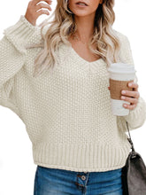 Load image into Gallery viewer, Women V Neck Loose Knitted Sweater (4369647206540)