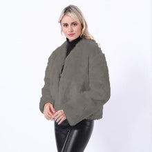 Load image into Gallery viewer, Short Plush Coat Round Neck Slim Fit (4369625612428)