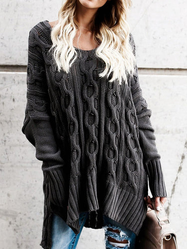 Knitted Plain Simple & Basic Long Sleeve Sweater