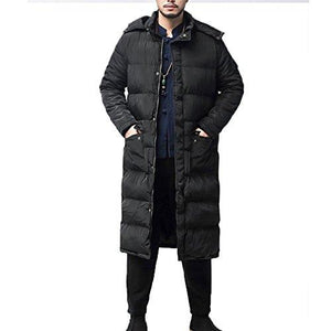 Men's Hooded Down Jacket Long Thick Winter Zipper Quilted Puffer Jacket Coat (4365972340876)