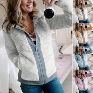 Autumn Winter Women Zippered Fleece Jacket Short (4369627906188)