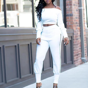 Off-shoulder Sexy Casual Pullovers Suit (4369740693644)