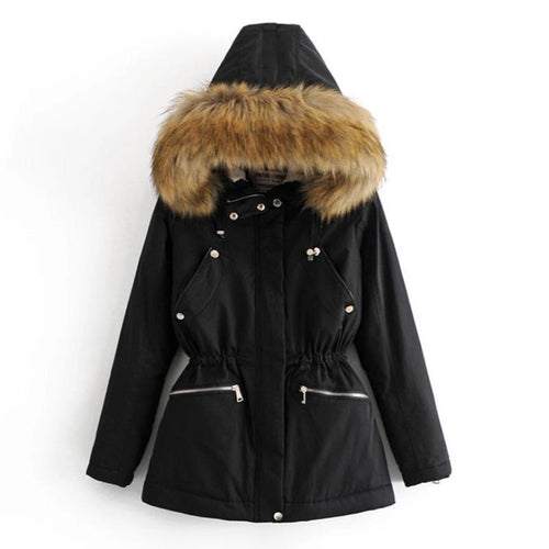 Winter Fashion Hooded Fur Collar Parka Coat (4370005655692)
