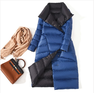 Women Double Sided Long Down Coat (4369202217100)