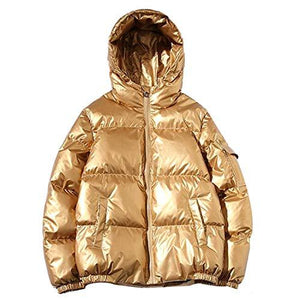 Men's Winter Puff Jackets Solid Color Metallic Jackets with Hood (4365972701324)