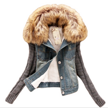 Load image into Gallery viewer, Women Cotton Denim Jacket Knited Sleeve (4369629577356)