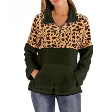 Load image into Gallery viewer, Women Leopard Zipper Pullover Sweatshirt (4369738662028)