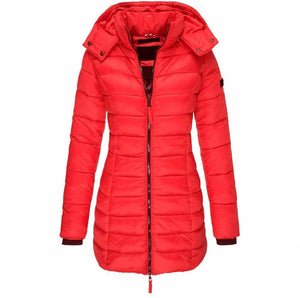 Women Winter Hooded Warm Coat Solid Color (4365972045964)