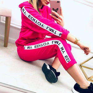 Women Sport Suits Hoodie and Pants Set Letter Printed (4369751539852)