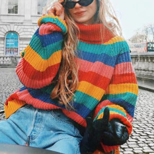 Colorful Loose Sweater Round Neck Fashion Streetwear (4369711169676)