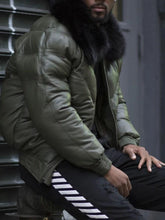 Load image into Gallery viewer, Zipper Color Block Lapel Casual Down Jacket (4365639254156)