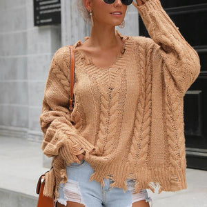 Solid Color Loose Irregular Casual Sweater (4369646715020)